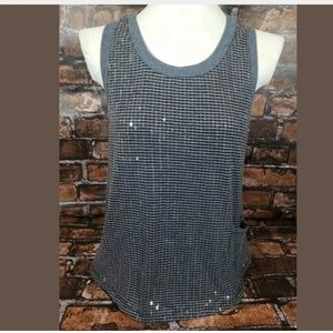 Imaginary Voyage Racerback Sequined Tank Top Large